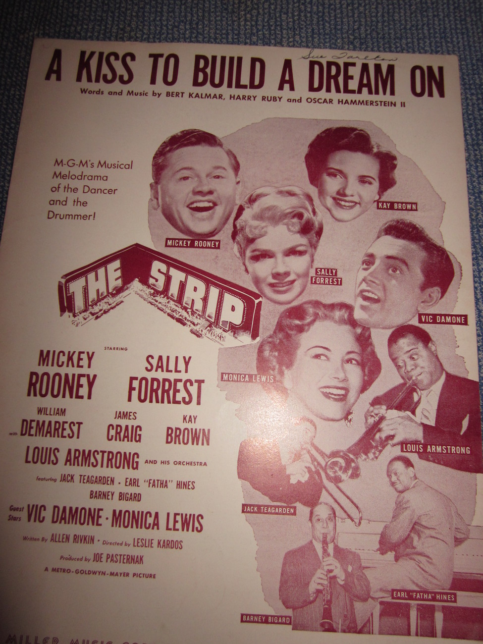 Vintage Sheet Music A Kiss To Build Upon 1951 from The Strip Movie