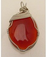 Wire Wrapped Solid Sterling Silver Carnelian Pe... - $125.00