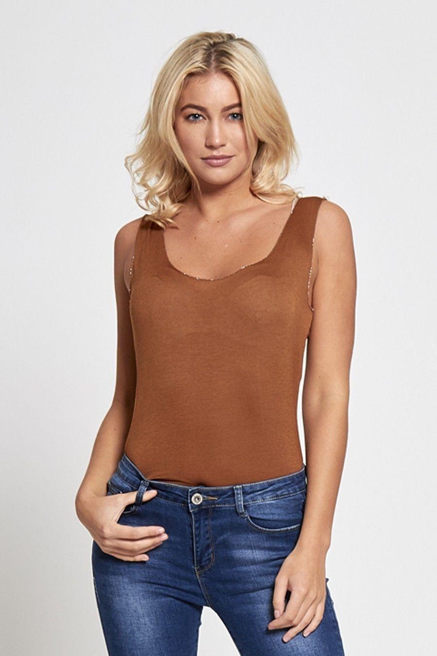 Womens Glitter Trim Plain Vest Top Onesize 8 - 14 Summer / Beach NEW