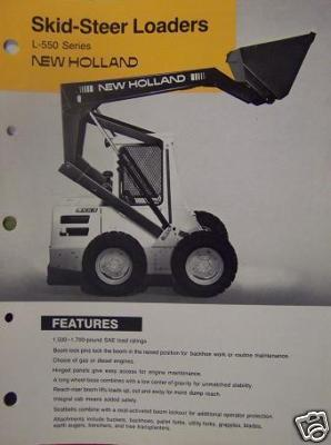 1987 New Holland L553, L554, L555 Deluxe Skid Steer Loaders Brochure
