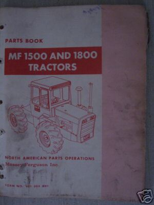 Primary image for Massey Ferguson 1500, 1800 Tractors Parts Manual - 1970
