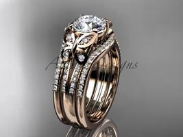Double rings wedding set 14kt rose gold Moissanite engagement ring ADLR514S - $3,340.00
