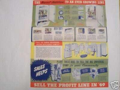1949 Universal Refrigerators Dealer Marketing Poster