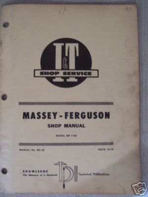 Primary image for Massey Ferguson MF1150 Tractor Shop Repair Manual