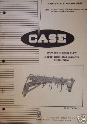 Case 5000 Series Chisel Plow Original Parts Manual - 1957