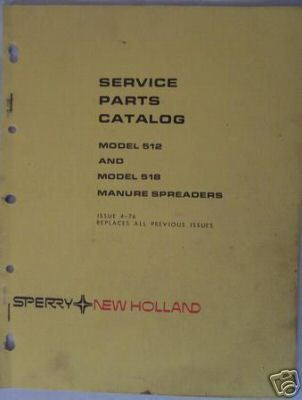 New Holland 512, 518 Manure Spreaders Parts Manual