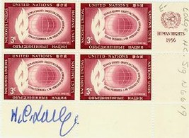 Henry Cabot Lodge, Jr.  SIGNED Block of (4) United Nations Human Rights ... - $25.00