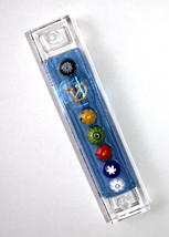 Murano Glass Handmade Mezuzah Case w 6.5 cm Scroll Blue Murrina Judaica