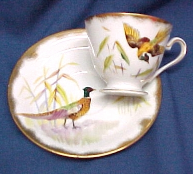 Lefton China Ring Necked Pheasant Cup & Saucer Bird Hunting Sports Lefton China