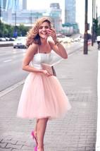 Luxurious 6 layers peachy pink tulle women skirt midi knee length full c... - $48.00