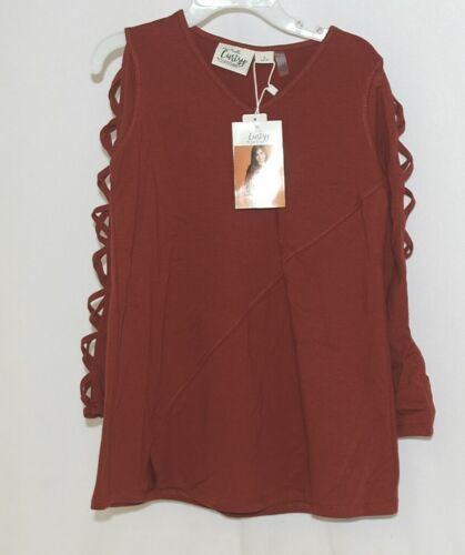 Simply Noelle Curtsy Couture Girls Cutout Long Sleeve Shirt Paprika Size Small