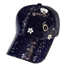 [Flower Black] Female Baseball Cap Sequins Baseball Cap Shiny Sun Hat - £15.11 GBP