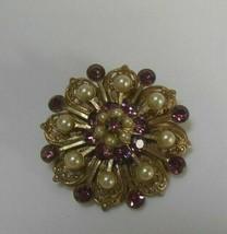 Vintage Gold-tone Purple Rhinestone & Faux Pearl Filigree Brooch - $24.99