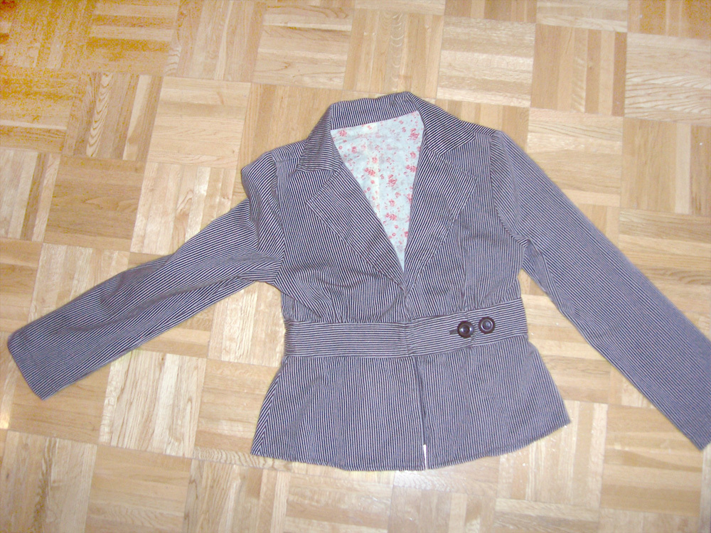 40s style womens brwon jacket belted striped