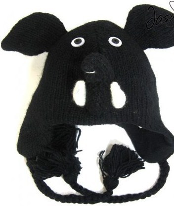 Black Elephant Animal Critter Hat Handmade Wool Warm Soft Cute NEW