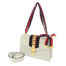 GUCCI Sylvie Leather White Ribbon Web 2Way Shoulder Bag 421882 Italy Authentic