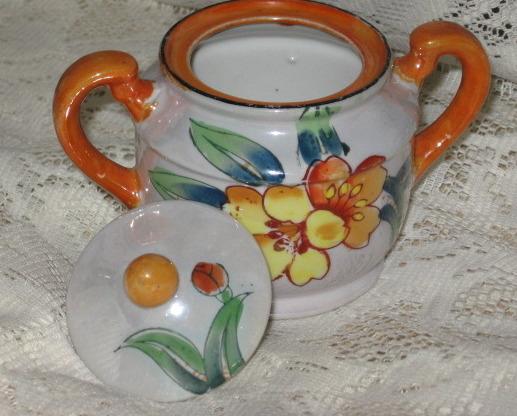 Lusterware Covered Sugar Bowl-Handpainted-Trico-Nagoya Japan image 3