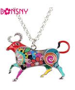 BONSNY Taurus Necklace Zodiac Charm Jewellery Enamel Pendant Women Girls... - $12.41