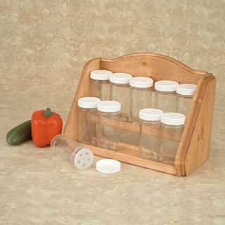 Spice Rack - Kitchen Counter Storage - 10 Glass Jars