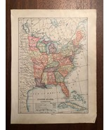 """Vintage Color Map of EASTERN UNITED STATES USA Print Plate 7"""" x 9"""" Unframed - $14.00"""