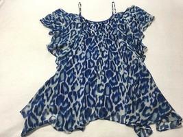 Jessica Simpson L Large Blue Leopard Lemoore Ruffle Flutter Dress - $29.99
