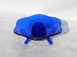 Vintage Fostoria Cobalt Regal Blue Glass 6-Sided, 3-Footed Candle Holder - $22.99