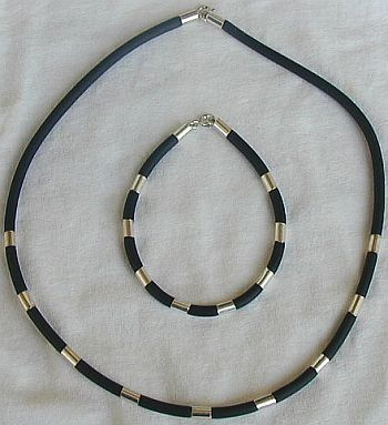 Primary image for Black caucciu necklace and bracelet