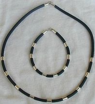 Black caucciu necklace and bracelet   - $21.00