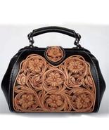 Western Floral Tooled Italian Leather Satchel Handbag Purse Shoulder Bag... - $189.95