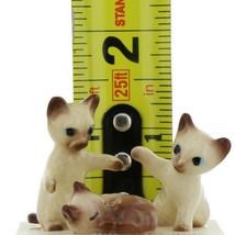 Hagen Renaker Miniature Cat Siamese Kittens Sleeping Sitting and Paw Up Set of 3 image 2