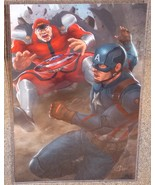 Captain America vs M Bison Glossy Art Print 11 x 17 In Hard Plastic Sleeve - $24.99