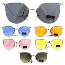 Womens Designer Futuristic Metal Rim Squared Cat Eye Sunglasses - $12.95