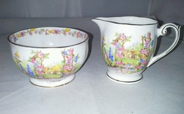 Bell Rose Cottage Fine Bone China Footed Mini Sugar Bowl Creamer England... - $18.99