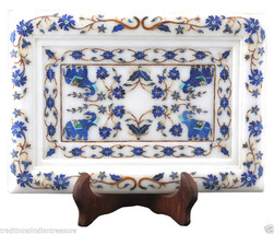 """10""""x7"""" Marble Serving Tray Plate Lapis Elephant Art Mosaic Inlay Art Decor Gifts - $395.21"""