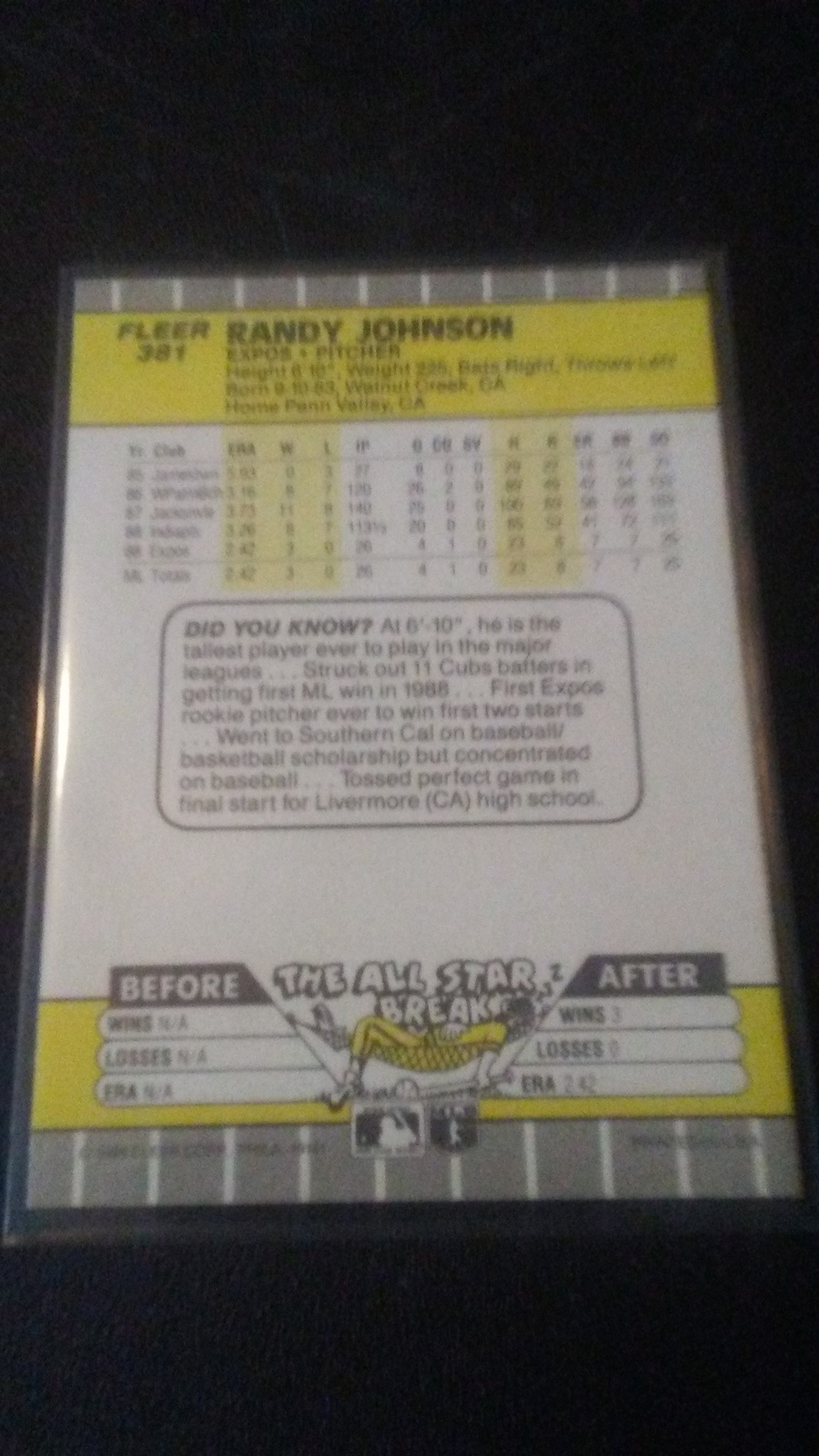 1989 Fleer Randy Johnson RC image 2