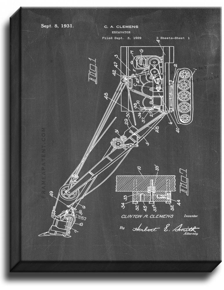 Primary image for Excavator Patent Print Chalkboard on Canvas