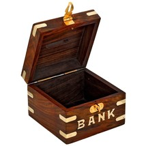 Safe Money Box Wooden Piggy Bank For Boys Girls And Adults - $12.38