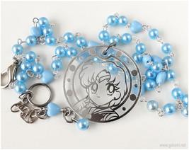Sailor Mercury Acrlic Pendant, Beaded Pearl Necklace, Baby Blue Chain - ... - $27.00