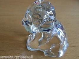 Paperweight Dog Puppy Clear Glass OPENED BOTTOM Unknown Maker    - $29.70
