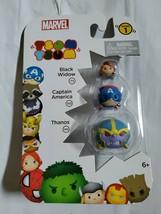 New Marvel Tsum Tsum 3 Pack Series 1 Black Widow Captain America Thanos Figures - $11.84