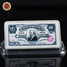 WR 1891 $10 Silver Certificate Tombstone Note Colored Silver US Collecti... - $4.99