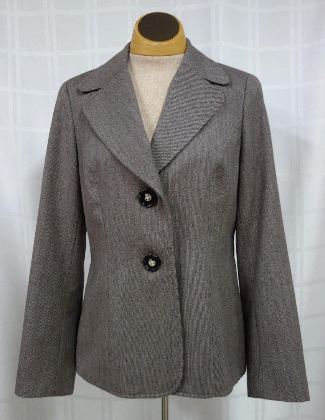 Talbots Womens Business Blazer Size 6 Brown Narrow Stripes 100% Wool Lined