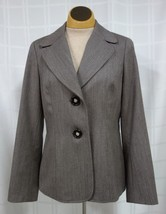 Talbots Womens Business Blazer Size 6 Brown Narrow Stripes 100% Wool Lined - $29.05