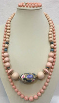 Sarah Coventry Necklace Bracelet Set Peach Tones Swirl Wood Handpainted ... - $16.82