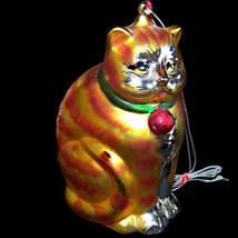 "Vintage Department 56 Mercury Glass Handpainted Fat Cat Orange Tabby 8"" Ornament - $47.99"