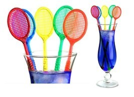 Tennis Racquet Cocktail Stirrers - Assorted Color Racket Party Swizzles ... - $10.96 CAD