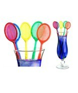 Tennis Racquet Cocktail Stirrers - Assorted Color Racket Party Swizzles ... - ₨572.73 INR