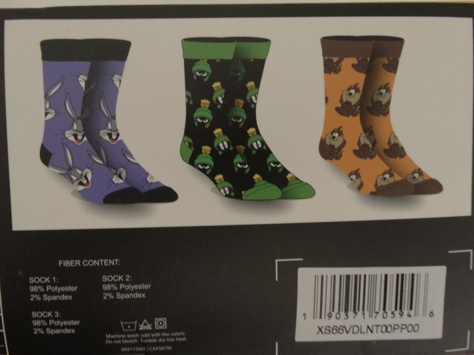 Looney Tunes Bugs Bunny Taz Marvin the Martian Crew Socks 3 Pack Gift Box