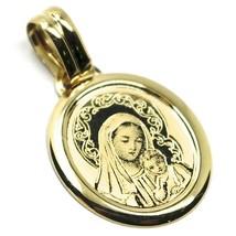 Anhänger Medaille Gelbgold 750 18K oval, MADONNA, Jesus Kind, 21 mm - $202.12