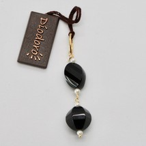 SOLID 18K YELLOW GOLD PENDANT WITH WHITE FW PEARL AND BLACK ONYX MADE IN ITALY image 1